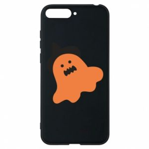 Phone case for Huawei Y6 2018 Orange ghost in hat - PrintSalon