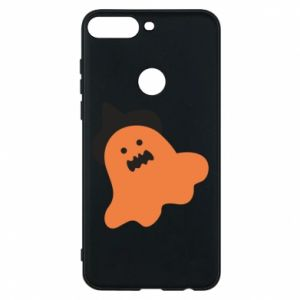 Phone case for Huawei Y7 Prime 2018 Orange ghost in hat - PrintSalon