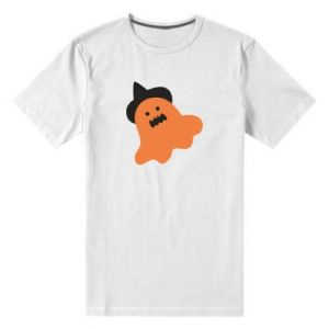 Men's premium t-shirt Orange ghost in hat - PrintSalon