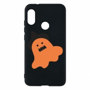 Phone case for Mi A2 Lite Orange ghost in hat - PrintSalon