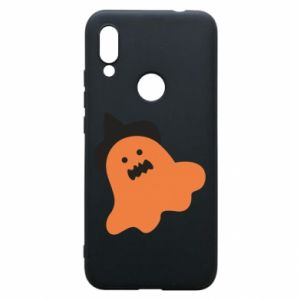 Phone case for Xiaomi Redmi 7 Orange ghost in hat - PrintSalon