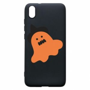 Phone case for Xiaomi Redmi 7A Orange ghost in hat - PrintSalon