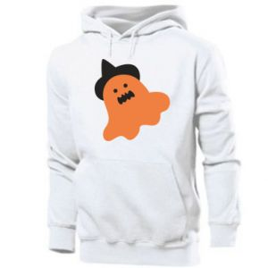 Men's hoodie Orange ghost in hat - PrintSalon