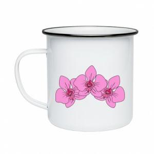 Kubek emaliowany Orchid flowers