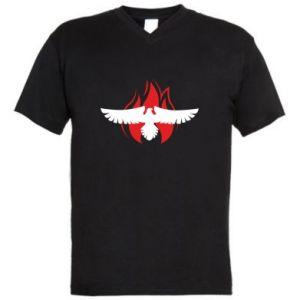 Męska koszulka V-neck Orzeł w ogniu