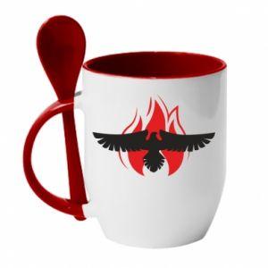 Kubek z ceramiczną łyżeczką Orzeł w ogniu