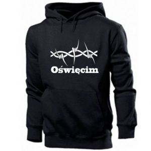 Men's hoodie Inscription: Oswiecim and wire