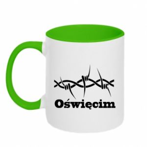 Two-toned mug Inscription: Oswiecim and wire
