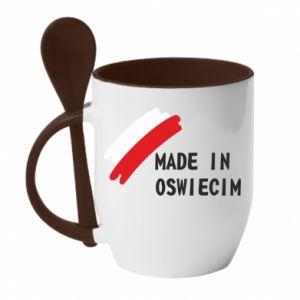 Kubek z ceramiczną łyżeczką Made in Oswiecim