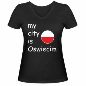 Damska koszulka V-neck My city is Oswiecim