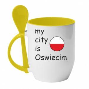 Kubek z ceramiczną łyżeczką My city is Oswiecim