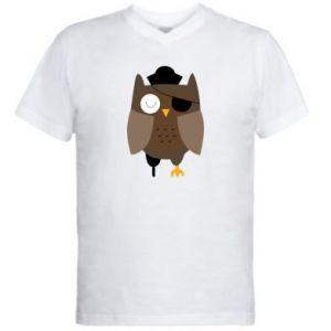 Men's V-neck t-shirt Owl pirate - PrintSalon