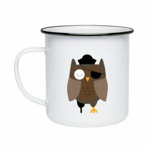 Enameled mug Owl pirate - PrintSalon