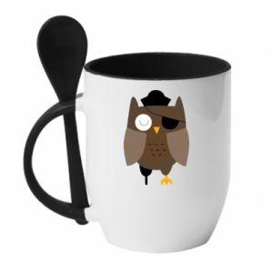 Mug with ceramic spoon Owl pirate - PrintSalon