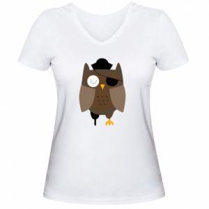 Women's V-neck t-shirt Owl pirate - PrintSalon