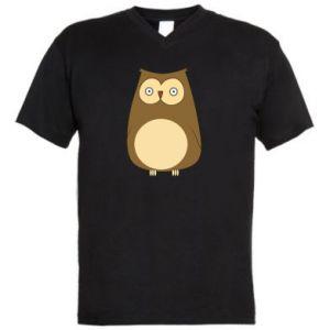 Men's V-neck t-shirt Owl with big eyes