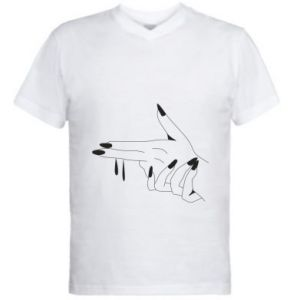 Męska koszulka V-neck Palce z pistoletem