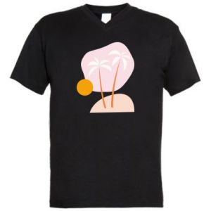 Męska koszulka V-neck Palmy o zachodzie słońca