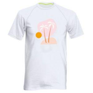 Męska koszulka sportowa Palmy o zachodzie słońca