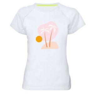 Damska koszulka sportowa Palmy o zachodzie słońca