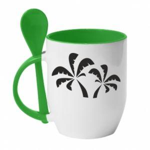 Kubek z ceramiczną łyżeczką Palmy