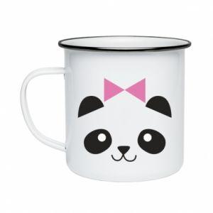 Enameled mug Panda girl - PrintSalon