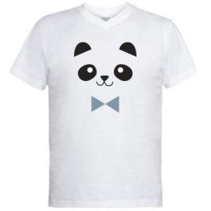 Men's V-neck t-shirt Panda guy - PrintSalon