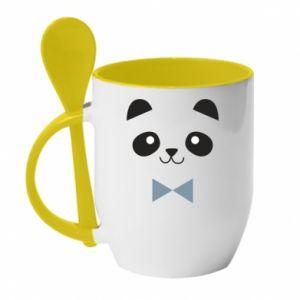 Mug with ceramic spoon Panda guy - PrintSalon