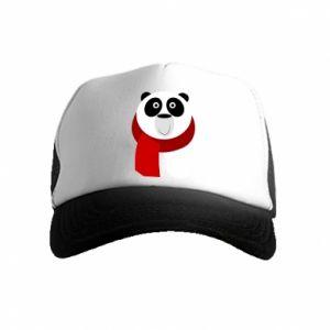Czapka trucker dziecięca Panda in a color scarf