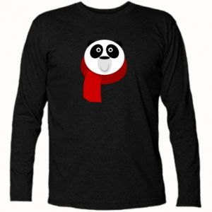 Long Sleeve T-shirt Panda in a color scarf - PrintSalon