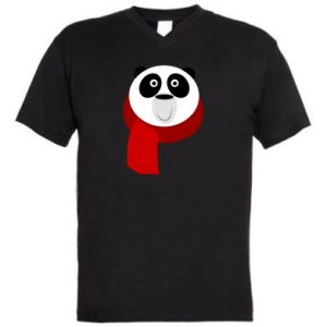 Men's V-neck t-shirt Panda in a color scarf - PrintSalon