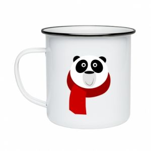 Enameled mug Panda in a color scarf - PrintSalon