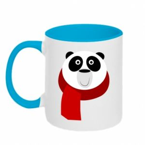 Two-toned mug Panda in a color scarf - PrintSalon