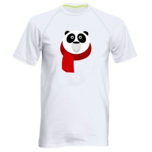 Men's sports t-shirt Panda in a color scarf - PrintSalon