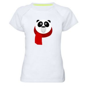Women's sports t-shirt Panda in a color scarf - PrintSalon
