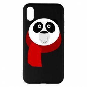 Etui na iPhone X/Xs Panda in a color scarf