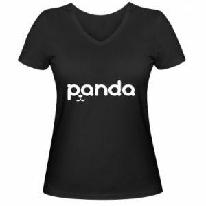 Damska koszulka V-neck Panda smirk