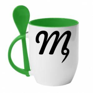 Kubek z ceramiczną łyżeczką Znak Panna