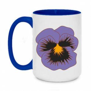 Two-toned mug 450ml Pansy Flower