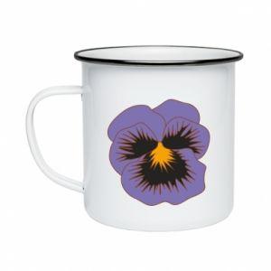 Enameled mug Pansy Flower