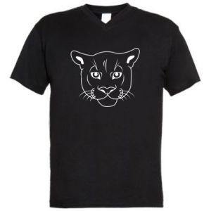 Męska koszulka V-neck Panther black - PrintSalon
