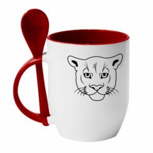 Kubek z ceramiczną łyżeczką Panther black - PrintSalon