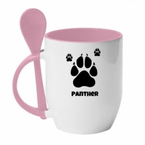Mug with ceramic spoon Panther trail - PrintSalon