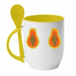Kubek z ceramiczną łyżeczką Papaya