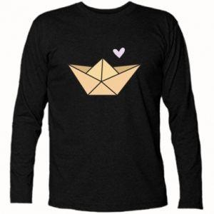 Long Sleeve T-shirt Paper boat with a heart - PrintSalon