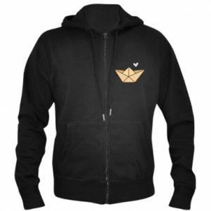 Men's zip up hoodie Paper boat with a heart - PrintSalon