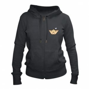 Women's zip up hoodies Paper boat with a heart - PrintSalon