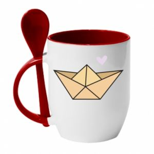 Mug with ceramic spoon Paper boat with a heart - PrintSalon
