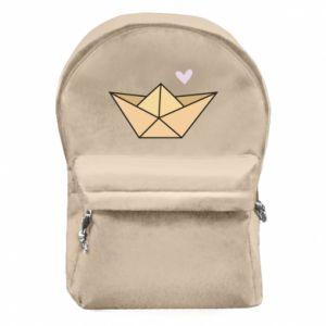 Plecak z przednią kieszenią Paper boat with a heart