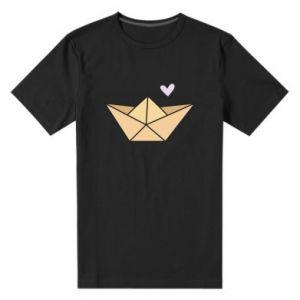 Men's premium t-shirt Paper boat with a heart - PrintSalon